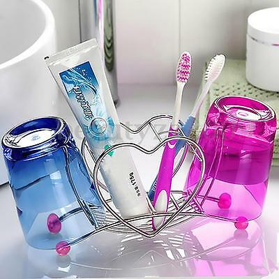 Stainless Steel Heart Shaped Toothbrush Toothpaste Cup Stand Holder Storage