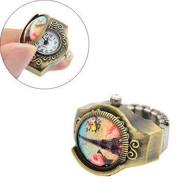 Eiffel Tower Cap Quartz Round Dial Finger Ring Watch Stretch Band Girl Lady Gift