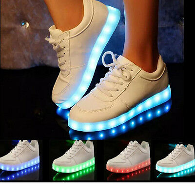 Unisex USB Charger LED Lights Lace Up Luminous Shoes Sportswear Casual Sneakers