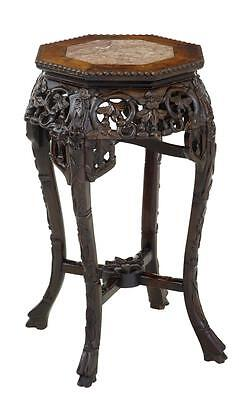 19Th Century Carved Hardwood Chinese Plant Pot Stand Table