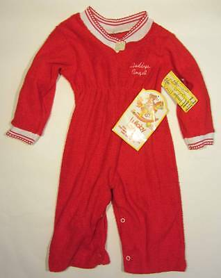 Childrens vintage playsuit sleepsuit towelling red white age 1 Daddys Angel 70's