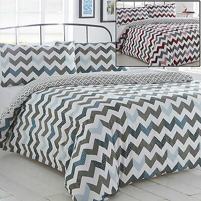 Chevron Duvet Cover Bed Set And Pillowcase Single Double King All Sizes Red Blue