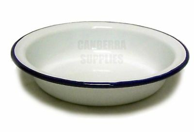 Falcon Enamel Round Camping Pie Dish 16Cm White With Blue Trim Free Shipping