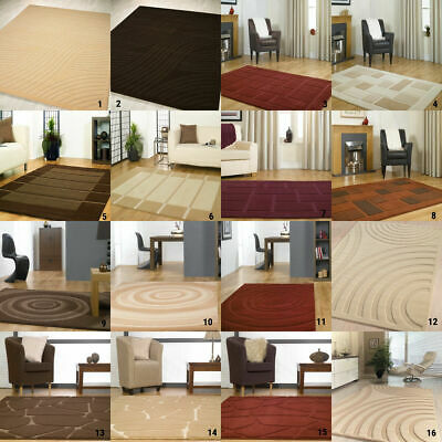 SMALL X LARGE SIZE 14mm MODERN SOFT RUG THICK CREAM BEIGE RED BROWN MODERN RUGS