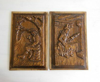 ANTIQUE VINTAGE FRENCH HAND CARVED WOOD PANEL x 2 Man Woman
