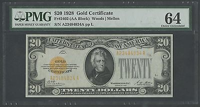 Fr2402 $20 1928 Gold Note Pmg Very Choice Unc 64 Wlm318