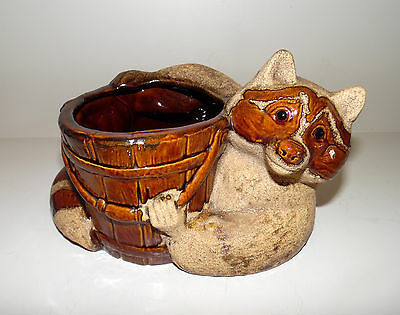 Rare Vintage Royal Haeger Raccoon With Planter Signed