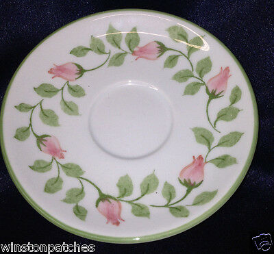 "Andrea By Sadek Rosebud Saucer 5"" Pink Flower Buds Green Trim"