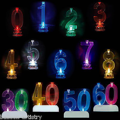 Colour Changing Number Birthday Party Flashing Cake Candle Holder Set Listing