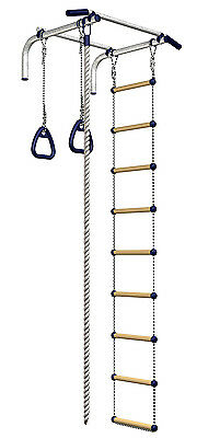 Wall Mount Pull Up Bar Set for Chin with Rope, Ladder & Rings, Chinning Home Gym