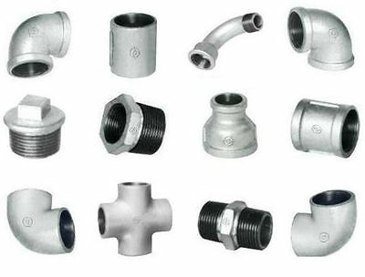 Bsp Galvanised Malleable Iron Threaded Pipe Fittings Elbow Tee Cross Plug Nipple