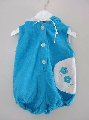 childrens vintage clothing bath robe 60's blue white baby age 1 towelling robe