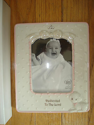 NIB Precious Moments Dedicated To The Lord Porcelain Frame Pink Girl Cross Lamb
