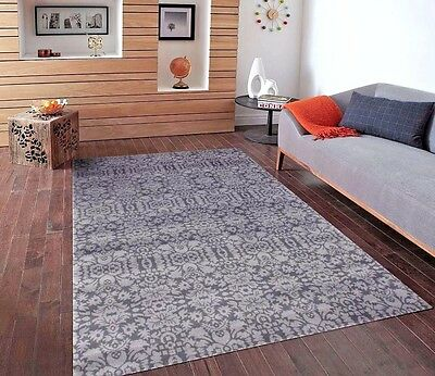 RUGS AREA RUGS CARPET 5x7 AREA RUG FLOOR MODERN GRAY CHECKERED COOL BLUE RUGS ~~