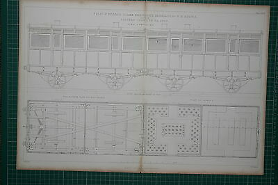 1855 Large Locomotive Print ~ First & Second Class Composite Carriage W. Adams