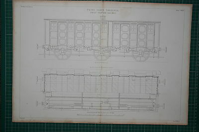 1855 Large Locomotive Print ~ Third Class Carriage Great Western Railway Plan