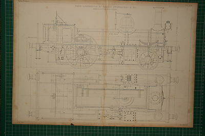 1855 Large Locomotive Print ~ Robert Stephenson Newcastle Railway Sectional Plan