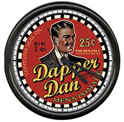 Dapper Dan Barber Shop Hair Pomade Sign Wall Clock