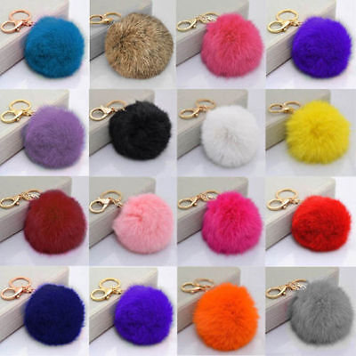 *UK Seller*Real Rabbit Fur Pompom Keyring Bag Charm Keychain 8cm Ring Pom Pom
