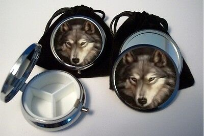 Wolf Pocket Mirror with pouch  & Pill Box 3 compartments with pouch