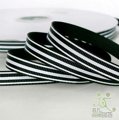 "2 Metres Black Lines Spring Strip Grosgrain Ribbon Craft Gift Wrapping 3/8""(9mm)"