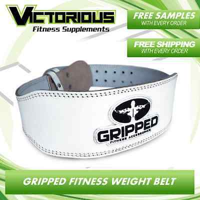Gripped Fitness - White Leather - Gym Weight Lifting Belt - Free Shipping
