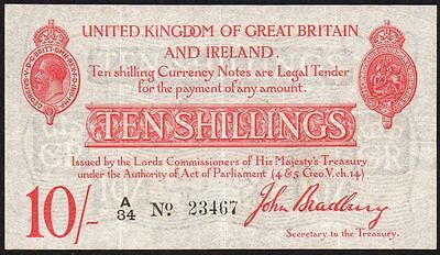 T12.1 BRADBURY 1915 10/- TREASURY NOTE * A/34 23467 * gVF *