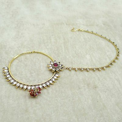 Ethnic Indian Nose Chain Ring Bridal Women Wedding Hoop Nath Accessory Jewelry