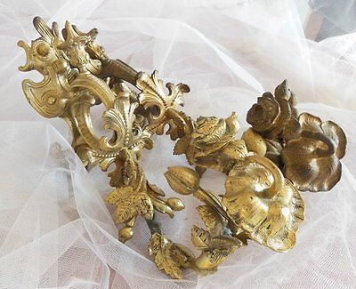 2 ANTIQUE FRENCH BRONZE CHATEAU CURTAIN TIE BACK HOOK Flowers 7.100 lb