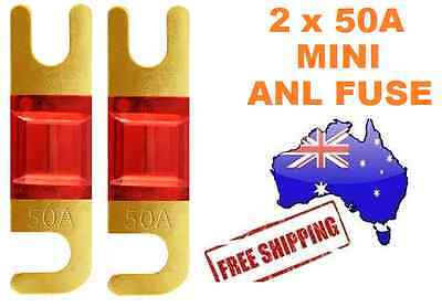 2 x 50AMP Mini ANL Fuse for Car Amplifier Wiring Kit Fuse Holders 50A Midi AFC