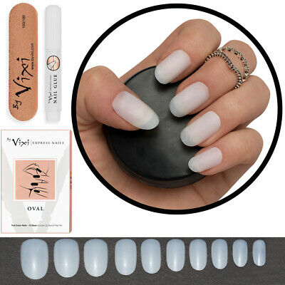50x Short ROUND/OVAL OPAQUE False Nails Tips Full Cover Fake Natural - FREE GLUE