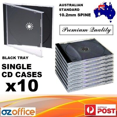 10 x Single Jewel CD Case Black Tray Single CD Cases CD Covers Standard Size