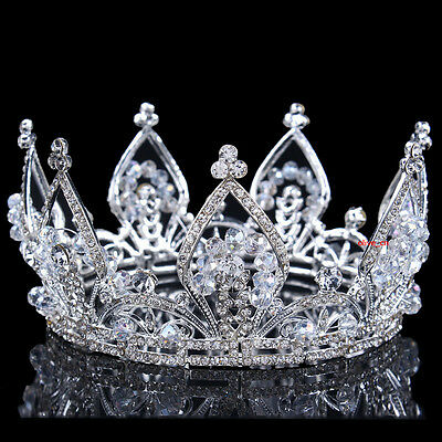 7cm High Superb Full Crystal Beads Wedding Bridal Party Pageant Prom Round Crown