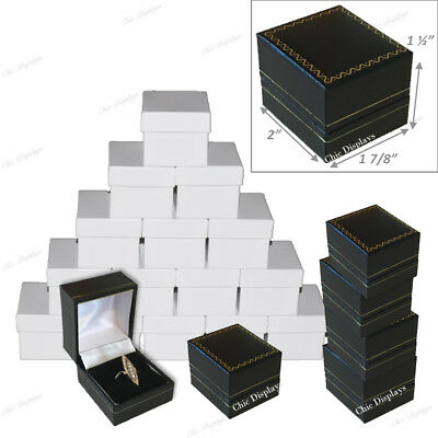 Lot Of (15) High Quality Leatherette Ring Box Black Ring Box Jewelry Gift Box