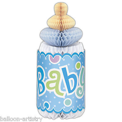 Blue Boy's Adorable Dots Baby Shower Party BOTTLE Honeycomb Table Centrepiece