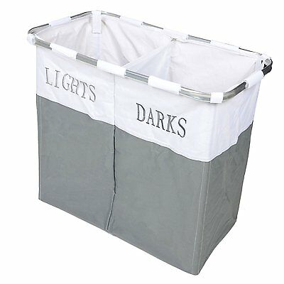 Twin Section Lights & Darks Laundry Basket Hamper Sorter Bin Foldable NEW