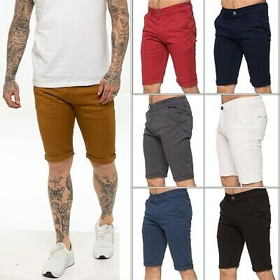 New ENZO Mens Chino Shorts Cotton Casual Summer Half Pant Stretch Slim Fit Short