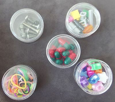 Small Round Tiny Clear Plastic Pills  Pill Beads lego Jars/Tubs/Pot/Containers