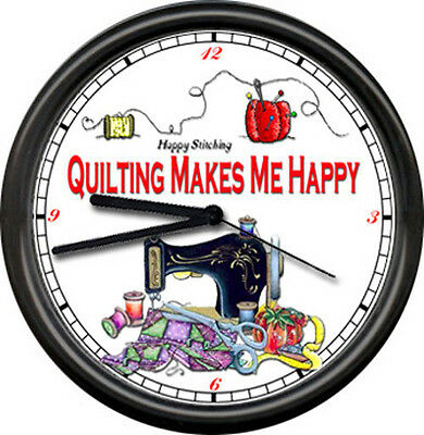 Quilting Room Retro Seamstress Quilt Craft Happy Sewing Machine Sign Wall Clock