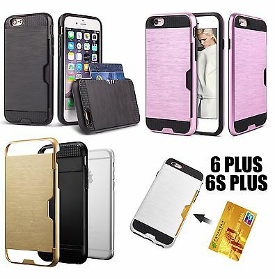 iPhone 6+ / 6S+ Plus HARD HYBRID METALLIC FUSION CREDIT CARD ID SLOT HOLDER CASE