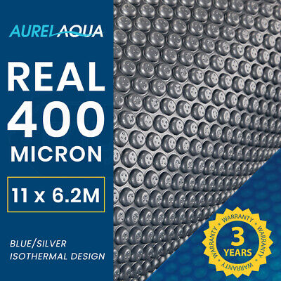 AURELAQUA  Solar Swimming Pool Cover Blue/Silver Heater Bubble Blank 11x6.2m