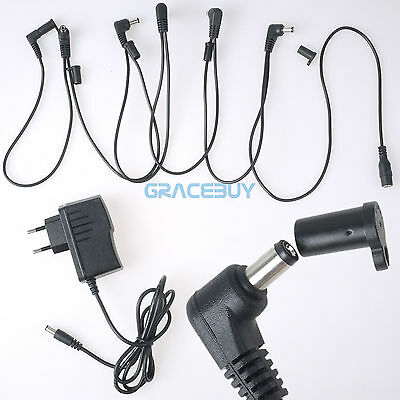 EU Guitar Effects Pedal Power Supply Adaptor & 6 Ways Chain Cable Cord for Boss