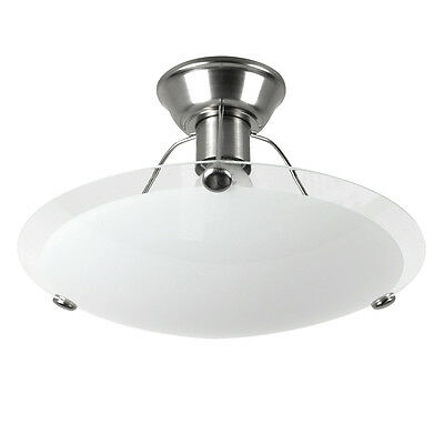 Contemporary Brushed Chrome Flush Ceiling Pendant Light Shade Glass Lampshade