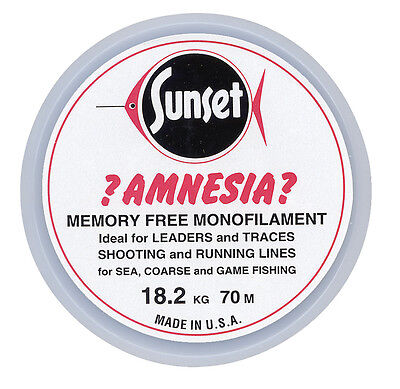 Amnesia Sunset Memory Free Fishing Line  Leader Hooklink Black or Clear 50mtr