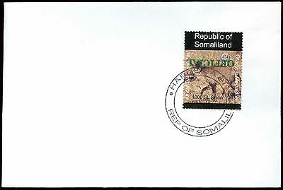 Somaliland 1998 Bat-Eared Fox Official Imperf Green Inverted Overprint #C33827