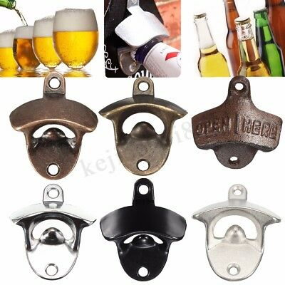 Metal Wall Mounted Beer Soda Glass Wine Bottle Cap Bar Opener Bar Kitchen Tool