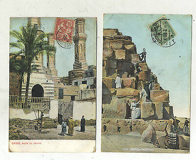 2 Cartes Postales Anciennes Pyramide Mosquee Le Caire  Port Said Egypte 1908