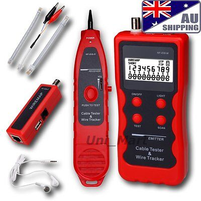AU Network Cable Tester LAN Phone Wire Tracker USB coaxial 1394 RJ45 RJ11 BNC