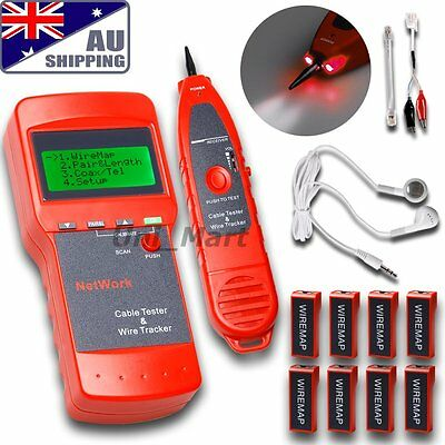 AU Network LAN Cable Tester Phone Wire Tracker LCD RJ45 BNC Scanner 8 Identifier