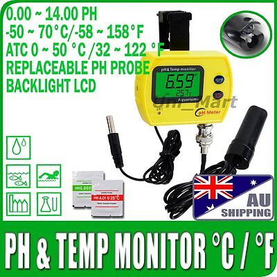 AU Ship PH Meter Monitor Replaceable Probe °C/°F ATC separate Temperature Sensor